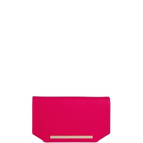 fuchsia faux leather clutch