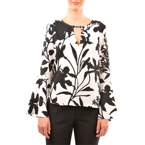 bicolored floral printed blouse