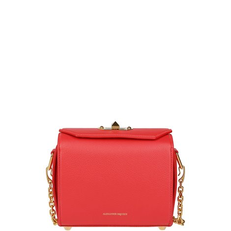 red leather box bag