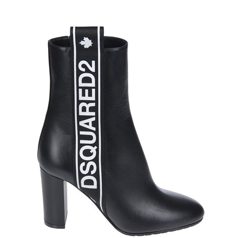 black ankle boots with logo