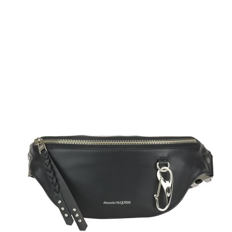 black leather logoed beltbag