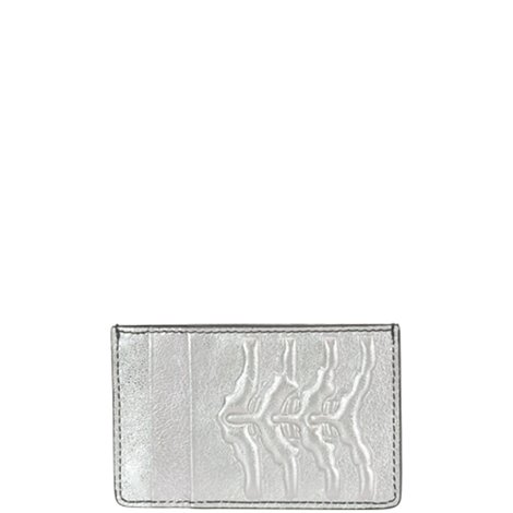 silver leather card holder