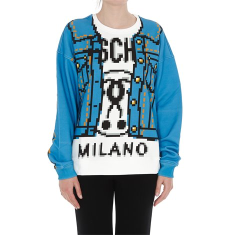 blue and white pixel capsule sweatshirt