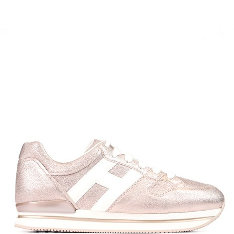 pink and white  leather h222  sneakers