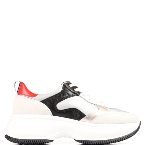 silver black and ivory leather  maxi i active sneakers