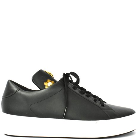 black leather embellished sneakers