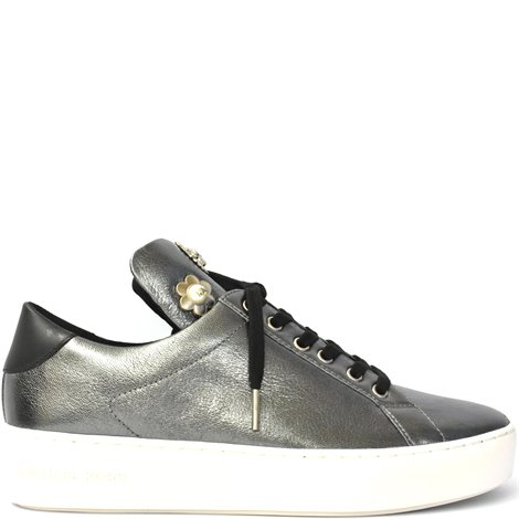 silver leather embellished sneakers