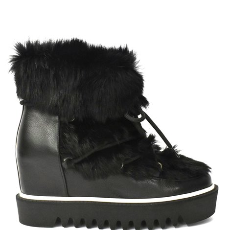 black leather ankle boots with fur inserts