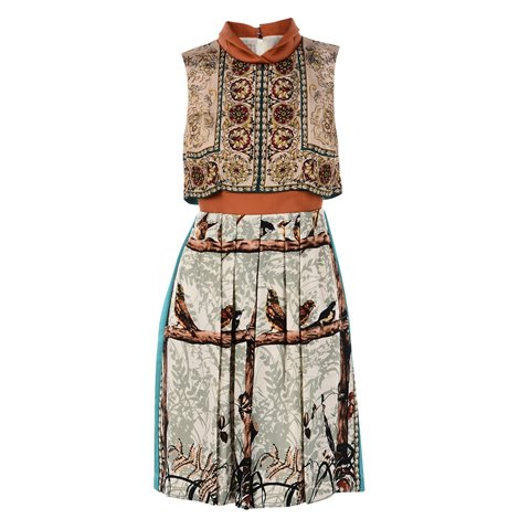 sleeveless birds printed dress