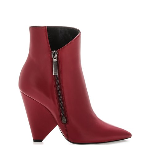red leather cone heel booties