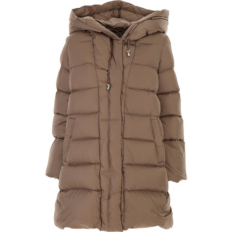 beige hooded down jacket