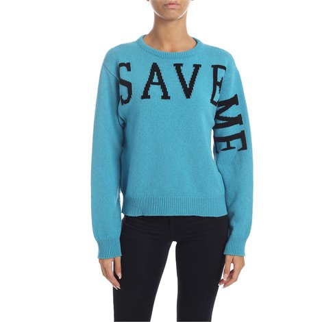 light blue<br/>recycled cashmere sweater certified global recycled standard<br/>save me embroidery in black<br/>ribbed edges<br/>regular fit<br/>machining and processes low chemical use and environmental impact