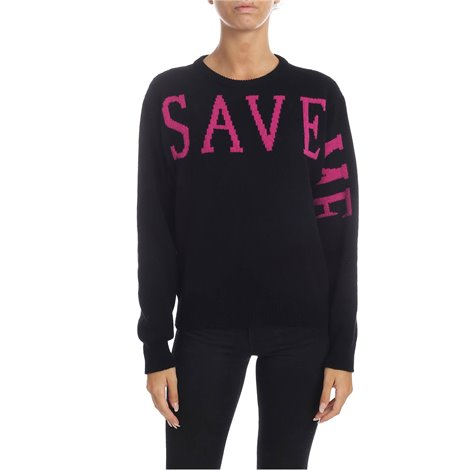 black<br/>recycled cashmere sweater certified global recycled standard<br/>save me embroidery in purple<br/>ribbed edges<br/>regular fit<br/>machining and processes low chemical use and environmental impact