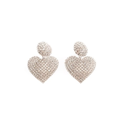 crystal heart earrings with half sphere