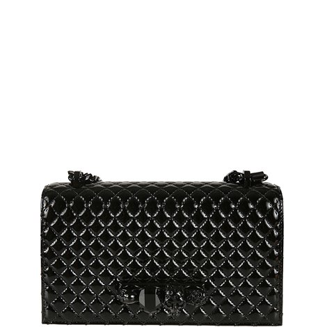 quilted leather jewelled satchel