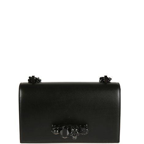 black leather bag with skull