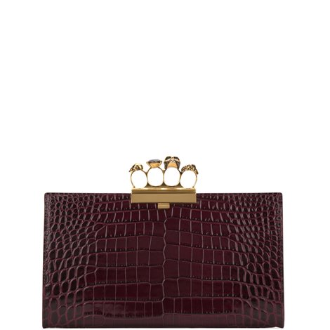 bordeaux leather clutch