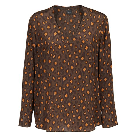 blusa marrone in seta