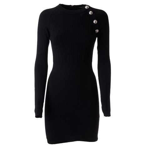 black woolt dress