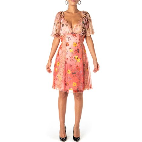 pink floral printed dress with sheer inserts