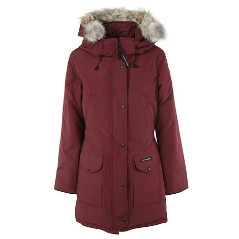 maroon parka coat with fur hood