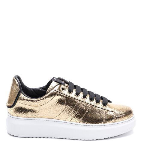 crack effect leather sneakers
