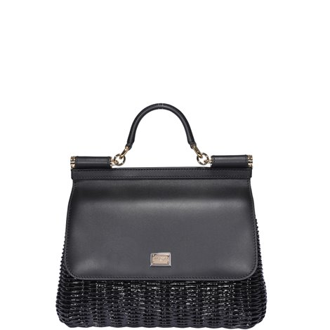 black leather medium sicily bag