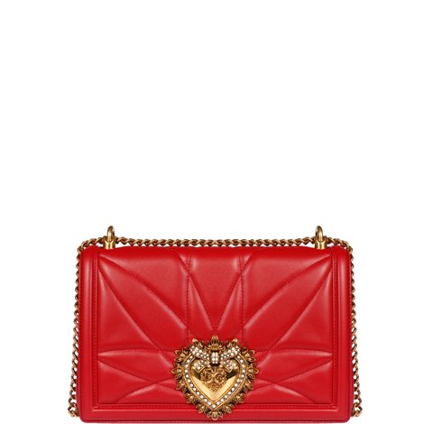 red quilted leather devotion cross body bag