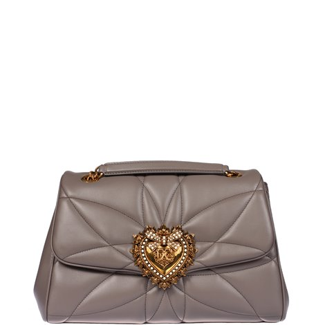 dove grey quilted leather devotion shoulder bag