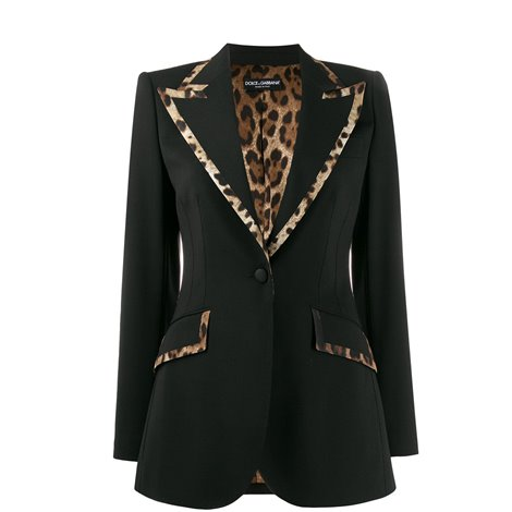 black wool and silk jacket with leo details