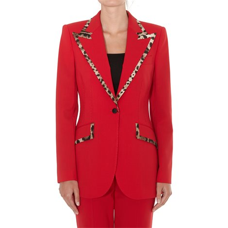 red wool and silk jacket with leo details