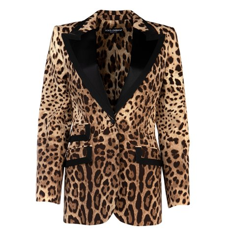 leo print silk and wool jacket