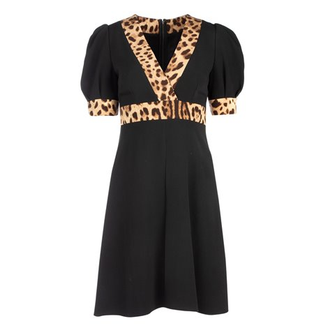 black dress with leopard print details