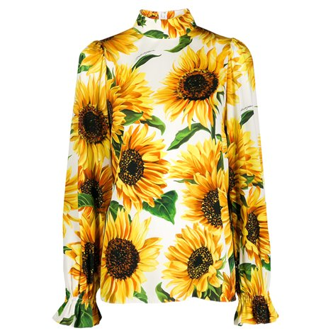 sunflower printed silk blouse