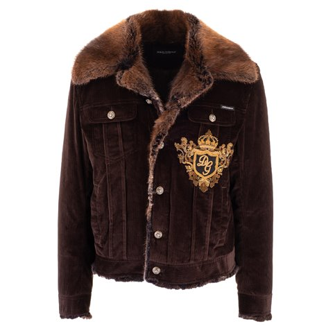 brown logoed jacket with fur details