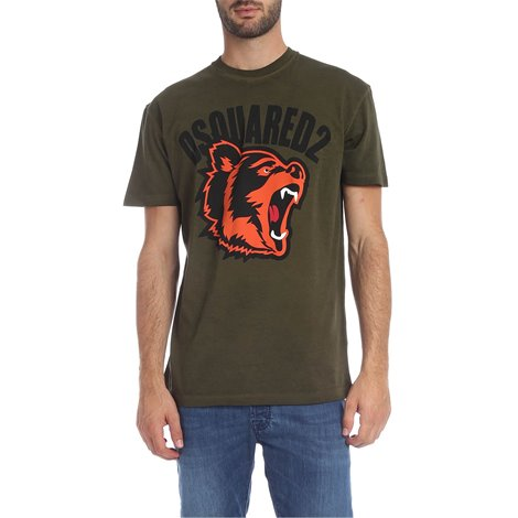 military green tshirt with logo and bear
