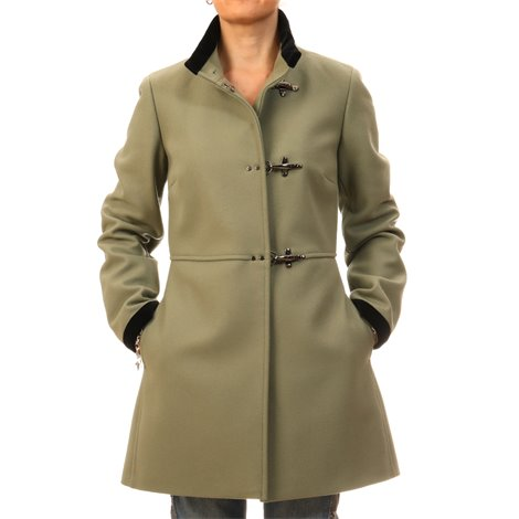 green virgin wool coat