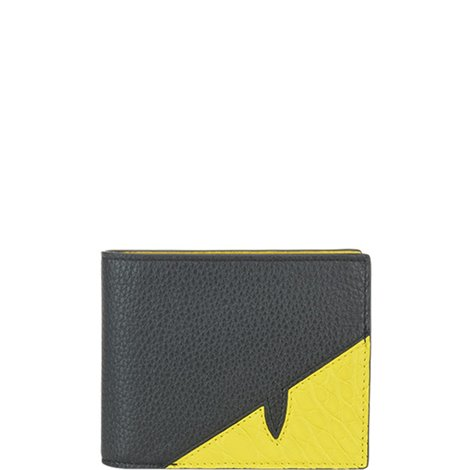 black and yellow leather wallet
