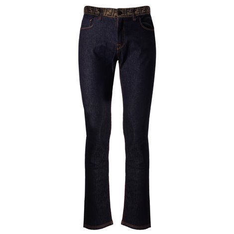 ff jacquard-waistband slim fit jeans