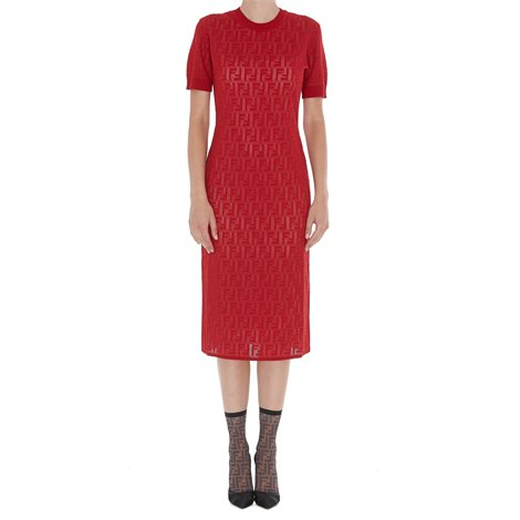 red stretch cotton dress