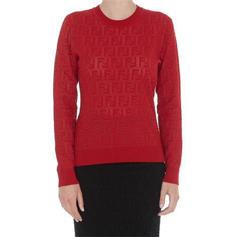 red stretch cotton sweater