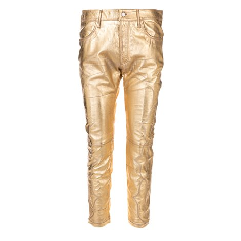 gold leather  trousers