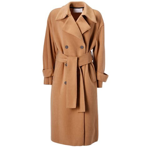brown oversized double-breasted trench coat