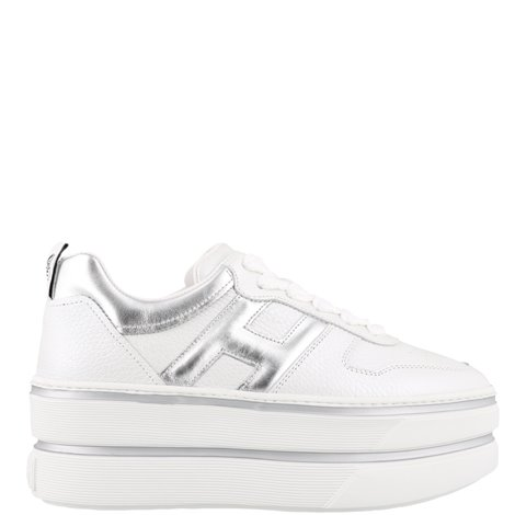 white and silver leather h449 sneakers
