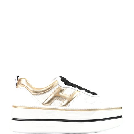 white and gold leather h449 sneakers