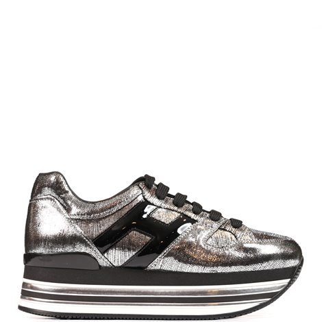 silver metallic leather h473 sneakers