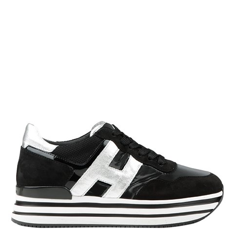 black  leather h483 platform sneakers