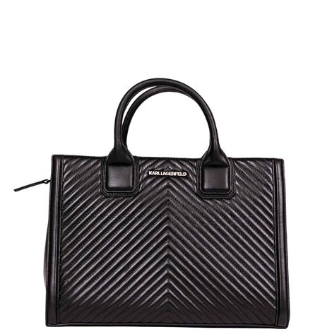 black quilted leather k/klassik tote bag