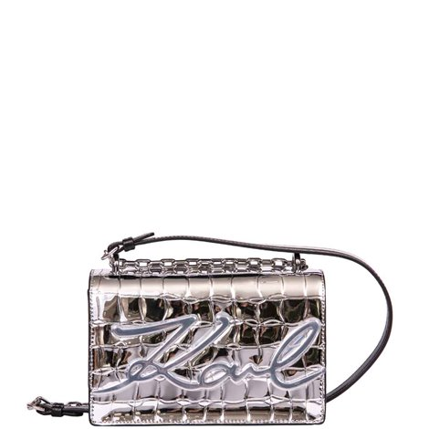 silver leather k/signature shoulder bag