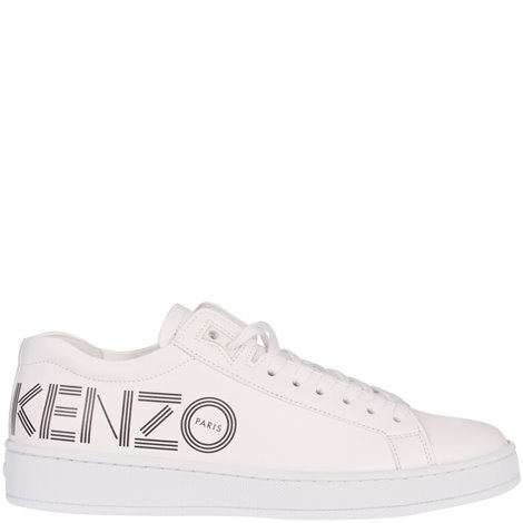 leather logoed sneakers
